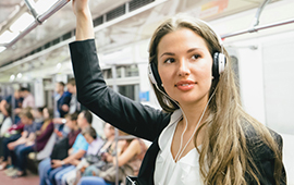 Woman standing in train