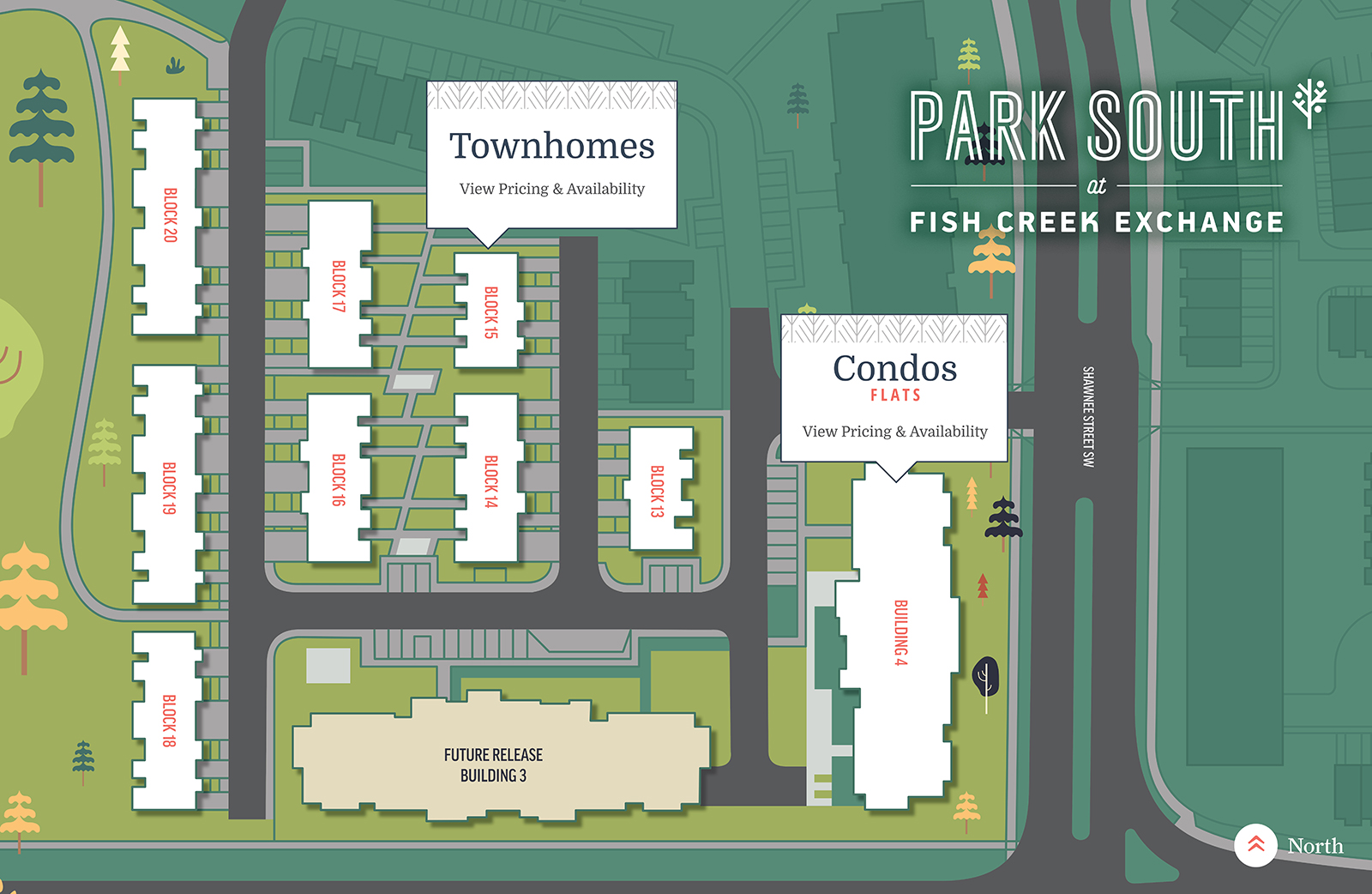 Map of Townhouses and Condos at Park South