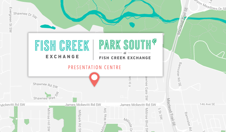 Graphical map of location of Fish Creek Exchange and Park South Presentation Centre