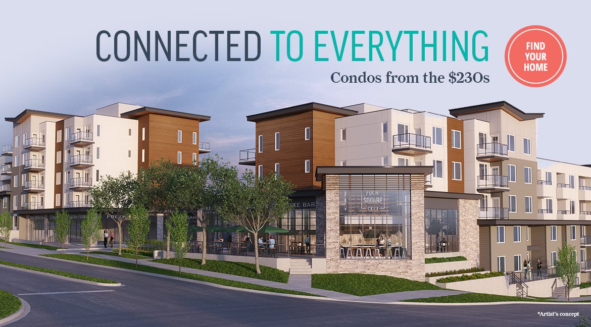 Exterior rendering of Fish Creek Exchange condos - Condos from the $230s