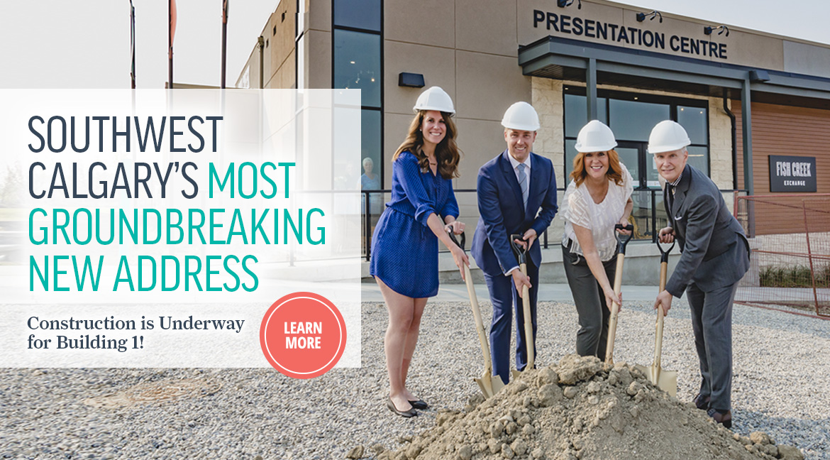 Fish Creek Exchanges sales manager Kaleigh Kelly, Patrick Briscoe with Graywood Developments, Calgary Coun. Diane Colley-Urquhart, Stephen Price of Graywood Developments, during a shovel turn ceremony for the start of construction at Fish Creek Exchange.