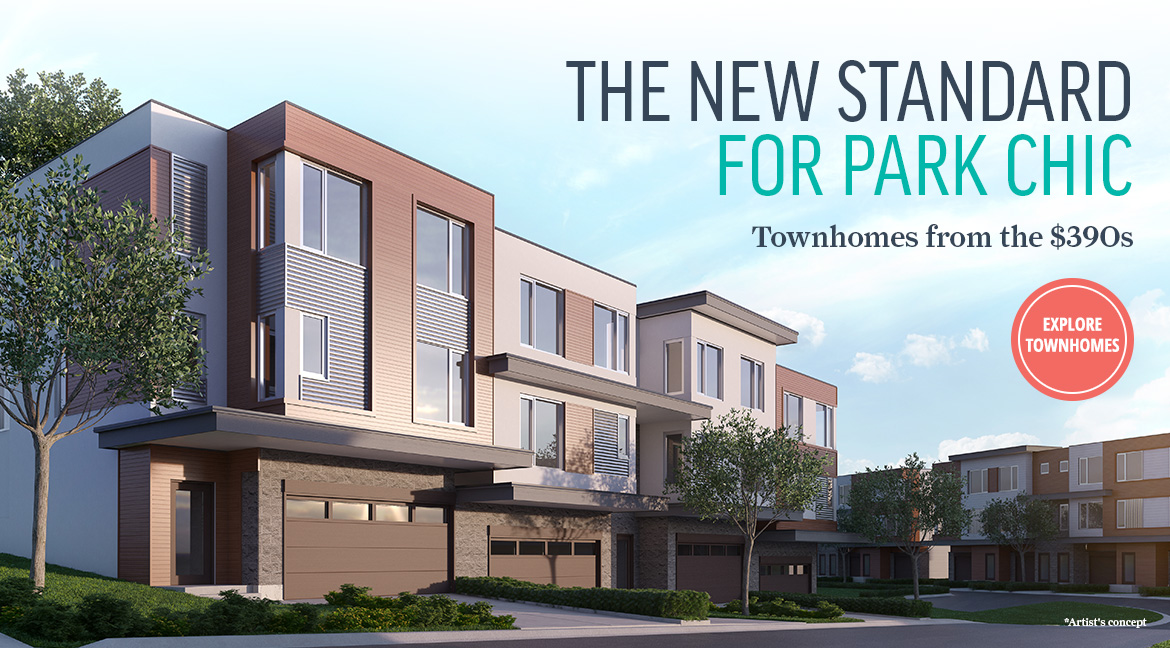 Exterior rendering of Fish Creek Exchange townhomes - Townhomes from the $390s